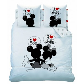 Dekbedovertrek Mickey & Minnie Mouse I Love You