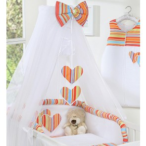 3-Delig Bedset Two Hearts Voile Streep/Oranje