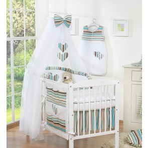 3-Delig Bedset Two Hearts Voile Brown/Stripes