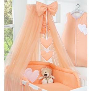 3-Delig Bedset Two Hearts Voile Oranje
