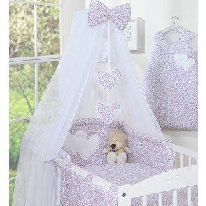 3-Delig Bedset Two Hearts Voile Bloem/Roze