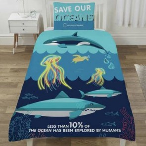National Geographic Dekbedovertrek Save our Oceans 135 x 200 cm