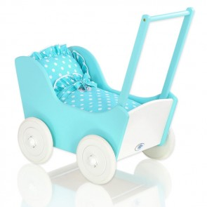 Houten Poppenwagen Turquoise-Wit Polka Dots