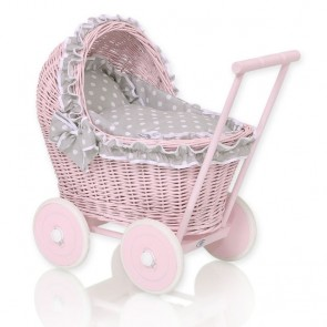 Rieten Poppenwagen Roze