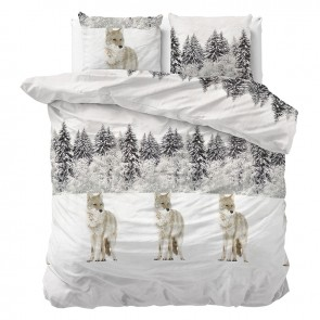 Sleeptime Dekbedovertrek Flanel Winter Wolf White