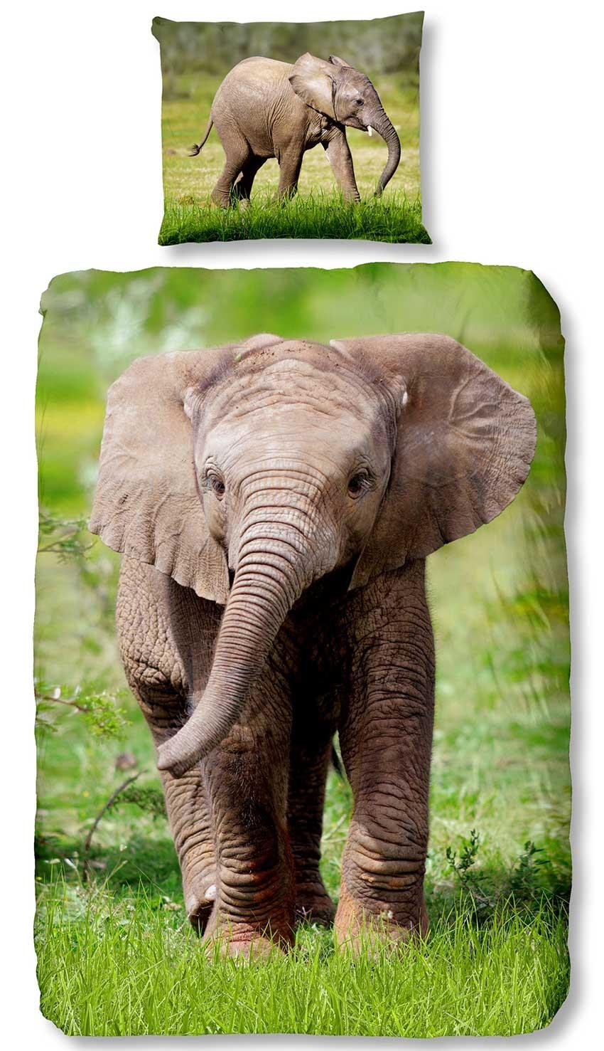 Dagaanbieding - Good Morning Kids Dekbedovertrek Elephant dagelijkse koopjes
