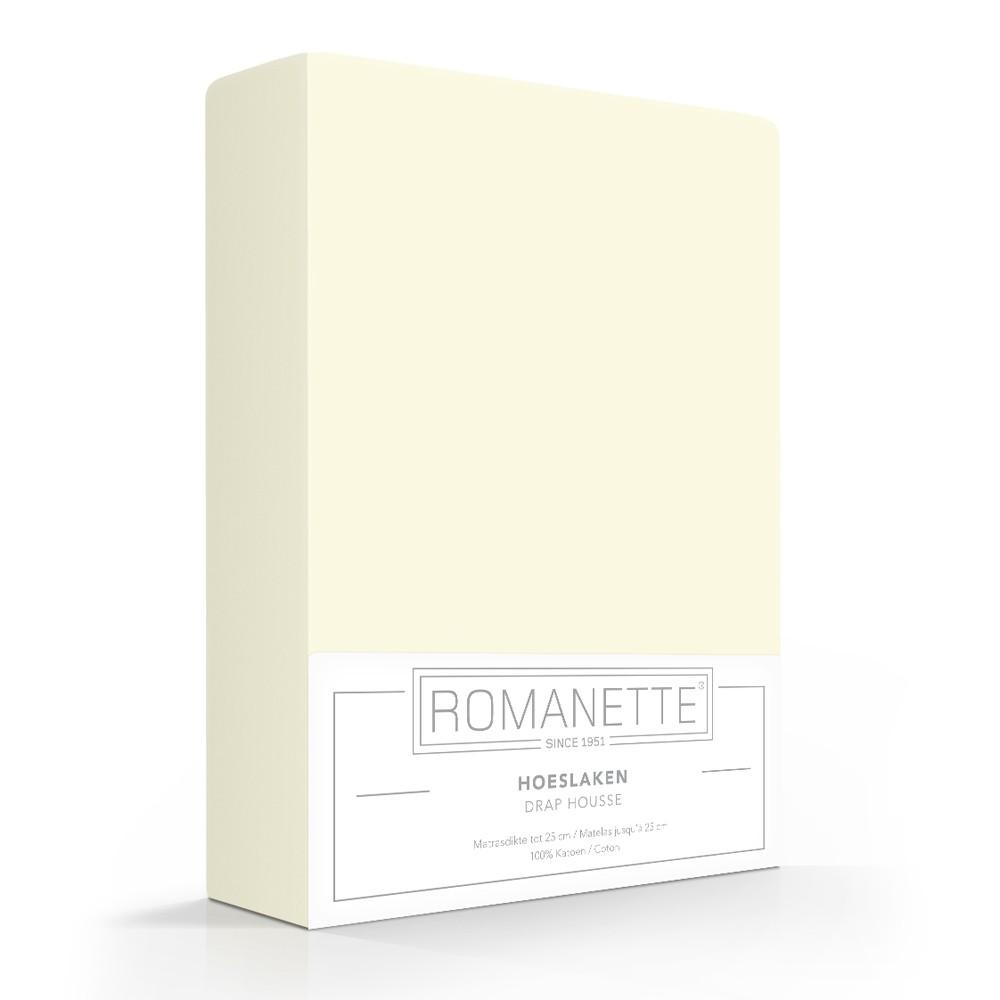 Romanette Hoeslaken Katoen Ivoor-180 x 220 cm